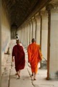 Nice shot of two monks walking around the cloister