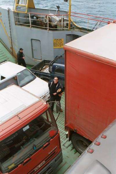 Between the big lorries