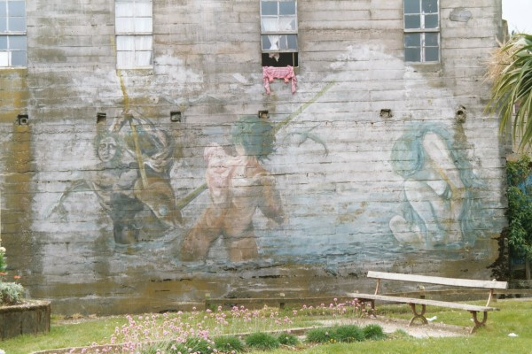 Chilote mural of wizards and demons